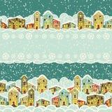 冬天城市,无缝的边界 免版税库存图片