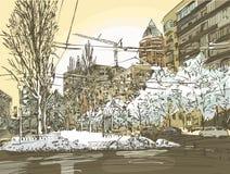 冬天城市绘画 免版税库存图片