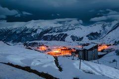 冬天多雪的山 alania高加索联邦山北ossetia俄语 免版税图库摄影