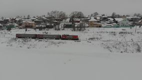 冬天多雪的火车 影视素材