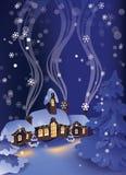冬天多雪的镇静夜在圣诞节村庄 库存照片