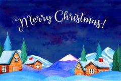 冬天夜与房子、山和冷杉的国家风景 标题`圣诞快乐` 向量例证