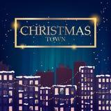 冬天夜传染媒介图象的圣诞节镇 库存照片