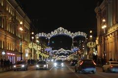 冬天夜在城市 图库摄影