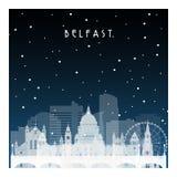冬天夜在贝尔法斯特 免版税库存照片