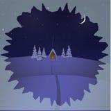 冬天夜背景的房子 免版税库存照片