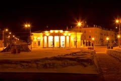 冬天夜都市风景 免版税库存图片