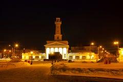 冬天夜都市风景 库存照片