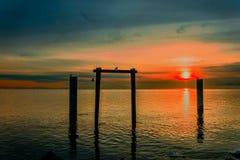 冬天太阳的日落在海洋的,反射在水中 免版税库存照片