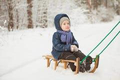 冬天夹克的小女孩坐爬犁在多雪的森林里 库存照片