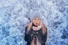 冬天女孩吹的雪 秀丽快乐的少年式样女孩获得乐趣在冬天公园 笑美丽的女孩户外 享受n 库存图片