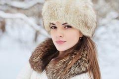 冬天女孩-室外美丽的妇女画象 库存图片