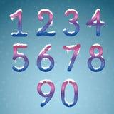冬天奶油色数字设置与雪盖帽 冻结的新年数字 皇族释放例证