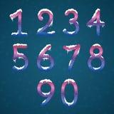 冬天奶油色数字设置与雪盖帽 冻结的新年数字 库存例证