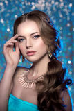 冬天妇女模型华美的秀丽构成时髦的发型 您 免版税库存照片