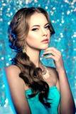 冬天妇女模型华美的秀丽构成时髦的发型 您 免版税库存图片