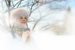 冬天妇女,模型 免版税库存照片