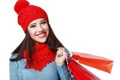 冬天妇女购物袋 免版税库存照片