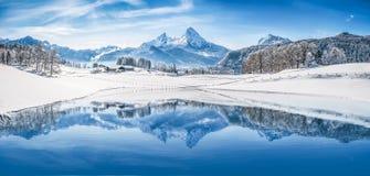 冬天妙境在反射在透明的山湖的阿尔卑斯 图库摄影
