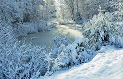 冬天妙境-哈里逊, 2014年11月26日的缅因 免版税库存照片