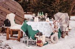 冬天婚礼桌 库存照片