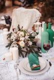 冬天婚礼桌 库存图片