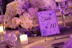 冬天婚礼的表装饰 图库摄影