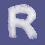 冬天字母表,由棉绒做的标志 被隔绝的蓝色背景 所有信件 高分辨率 库存照片