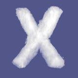 冬天字母表,由棉绒做的标志 被隔绝的蓝色背景 所有信件 高分辨率 免版税图库摄影