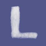 冬天字母表,由棉绒做的标志 被隔绝的蓝色背景 所有信件 高分辨率 免版税库存图片