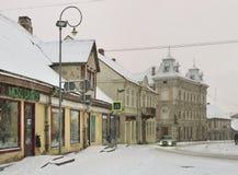 冬天季节的小镇 免版税库存照片