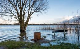 冬天季节的被充斥的河岸 库存照片