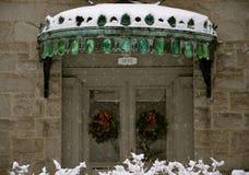 冬天季节的阿默斯特NH图书馆 免版税库存图片
