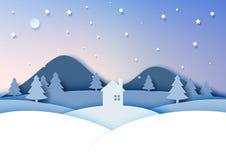 冬天季节风景夜场面  免版税图库摄影