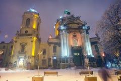 冬天寺庙的利沃夫州 库存图片