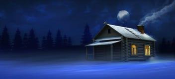 冬天小屋在森林 库存照片