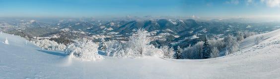 冬天山多雪的风景 免版税库存照片