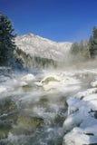 冬天山小河 库存图片