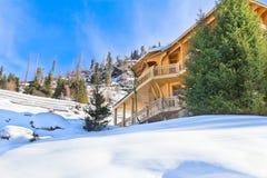 冬天山的之家 库存照片