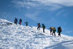 冬天山的,乌克兰, Karpaty远足者 图库摄影