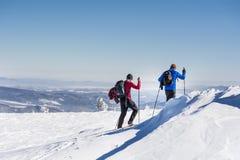 冬天山的滑雪者 免版税库存图片