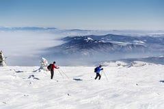 冬天山的滑雪者 库存图片