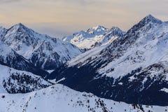 冬天山风景在奥地利 库存照片