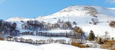 冬天山风景威尔士 图库摄影