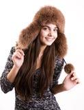 冬天帽子的女孩 图库摄影
