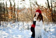 冬天怀孕 免版税库存图片
