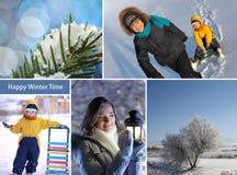 冬天愉快的时间拼贴画 免版税库存图片