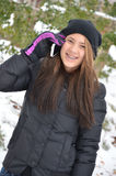 冬天手机 库存图片