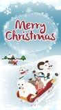 冬天招呼的长的版本圣诞卡 免版税图库摄影