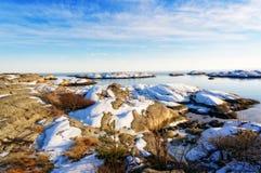 冬天挪威海海岸 图库摄影